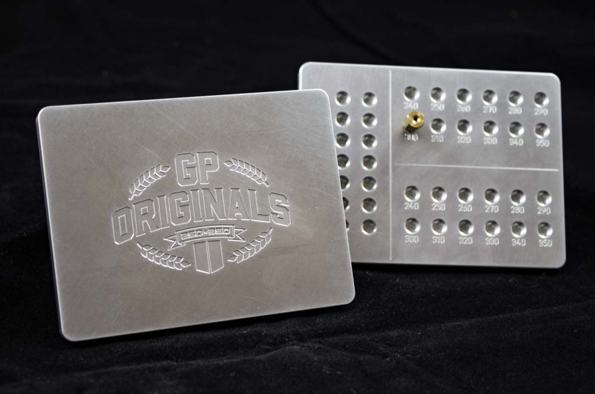 GP Originals bespoke jet plate with engraved logo