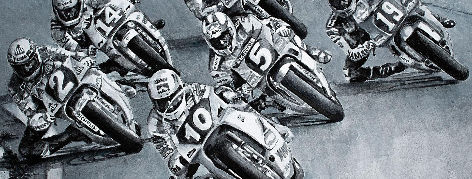 Martin Wimmer leading a pack of World Champions on the Aprilia