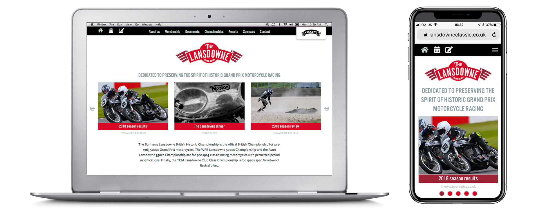 Motorsport website design for the Lansdowne Classic Series