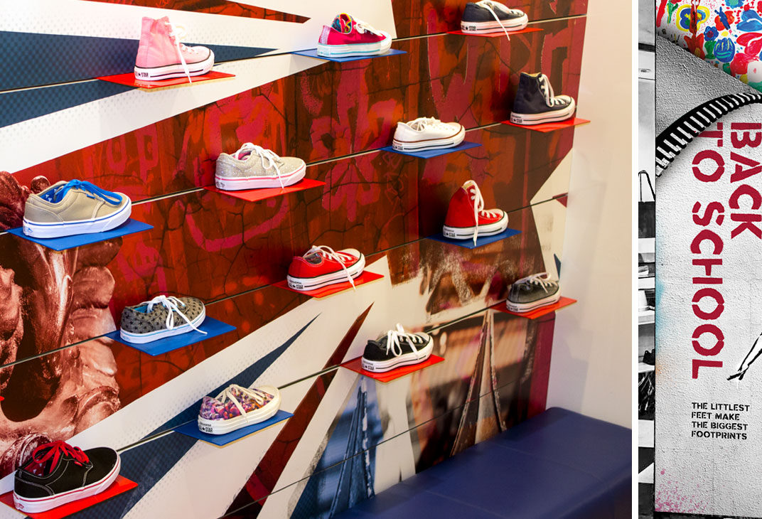 Shop display for shoes and back to school campaign