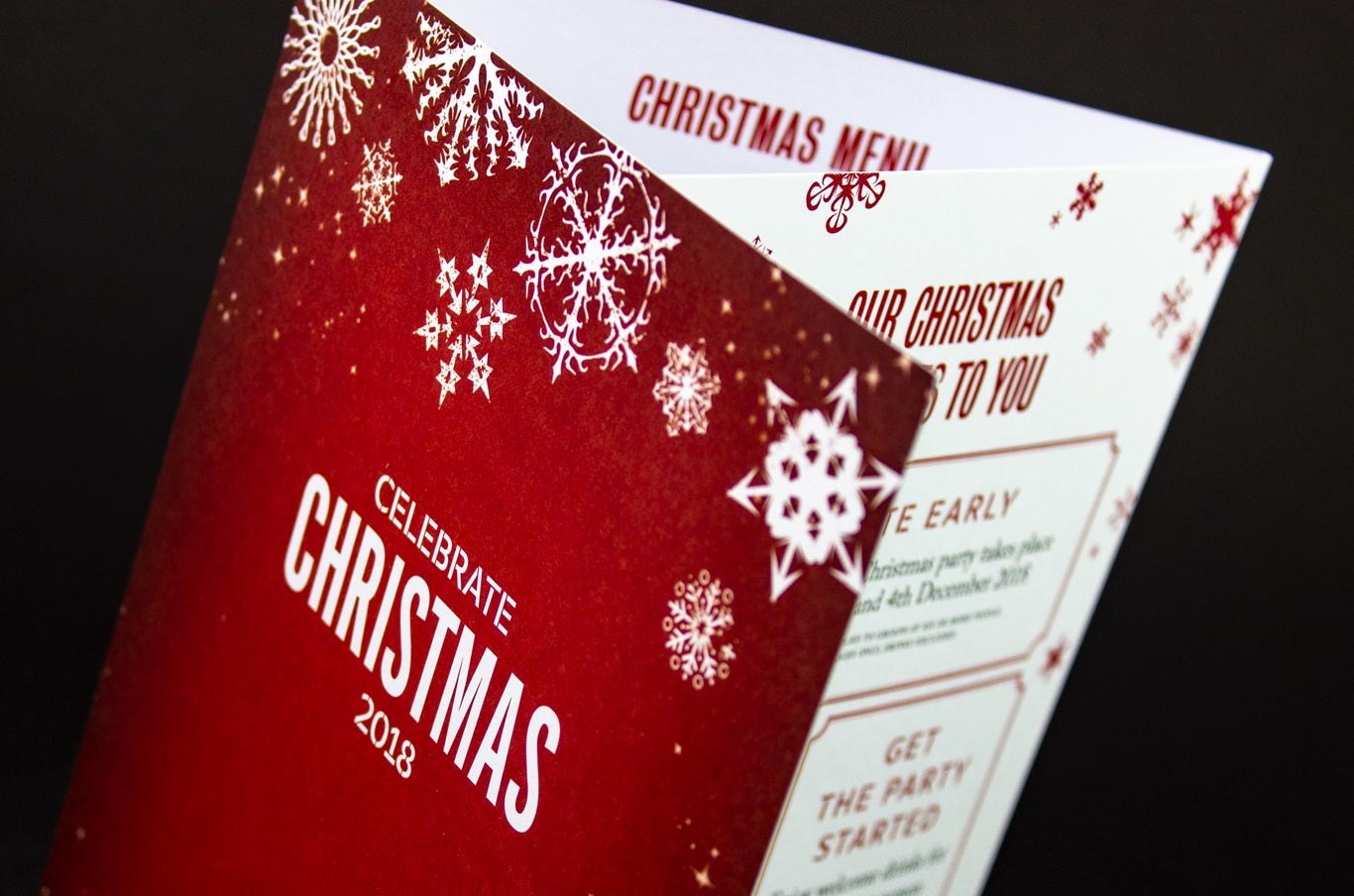 Christmas menu for a London restaurant and wine bar