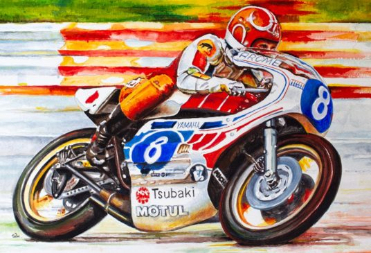 Acrylic painting of Katayama on the three cylinder Yamaha