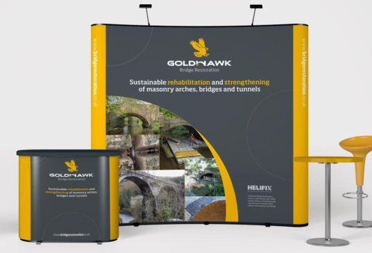 Exhibition display, 3 x 3 banner stand and counter