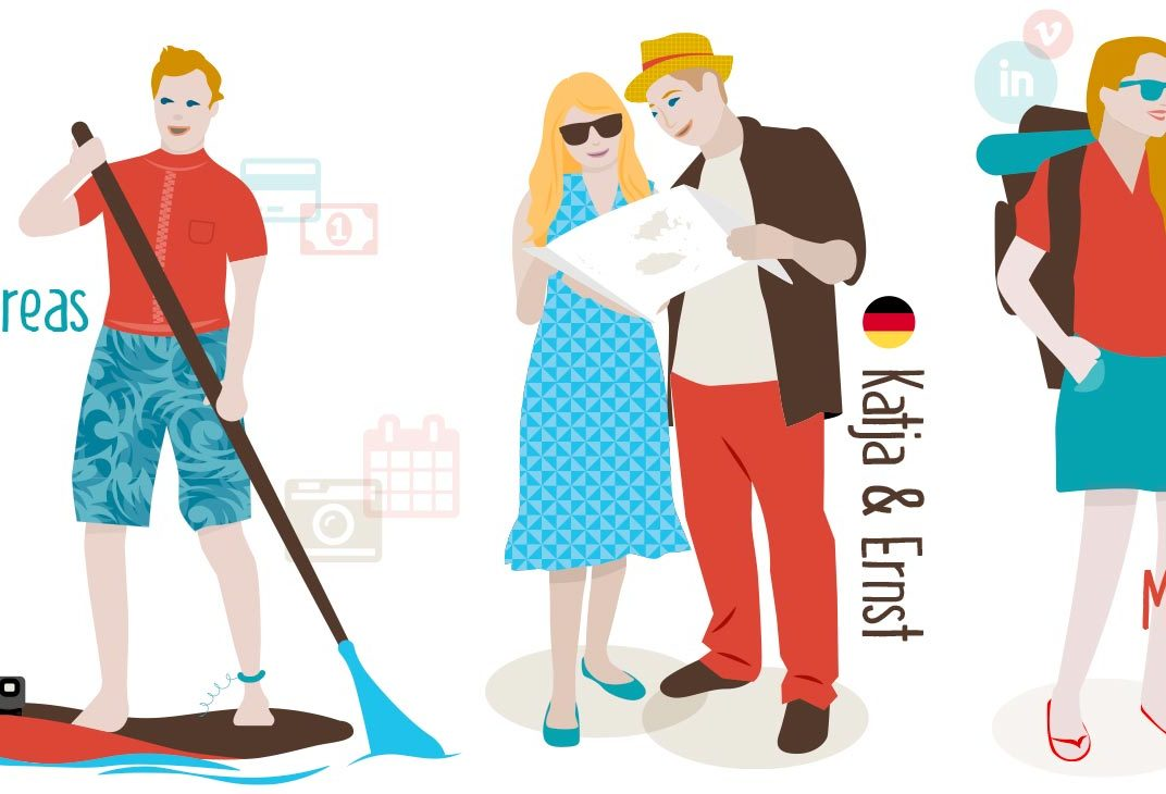 Vector character illustrations for travel and tourism projects