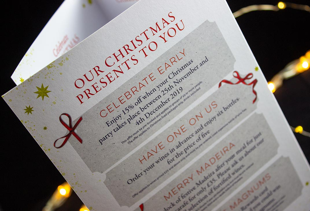 Christmas special offer leaflets for a restaurant and wine bar