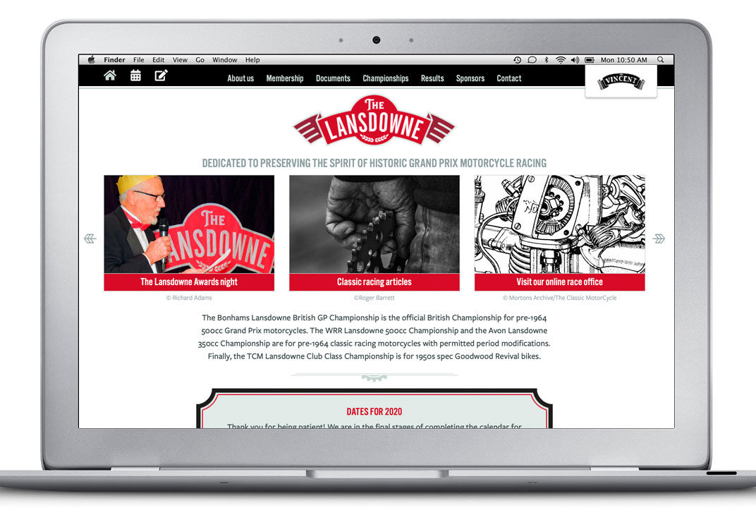 Website design for a classic motorcycle racing series