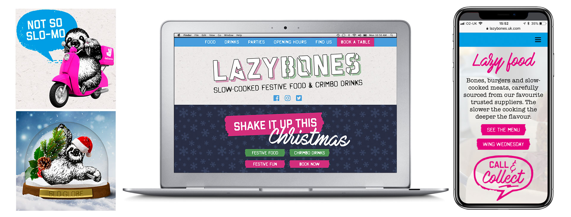 Scrolling website design for Lazybones wine bar and restaurant
