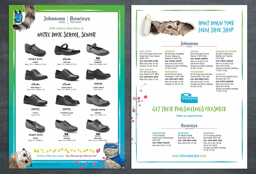 Back to School A4 flyers for school shoes