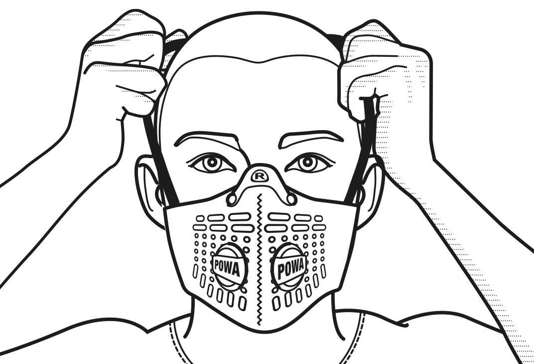 Face mask fitting diagrams illustrated by Spyre for Respro