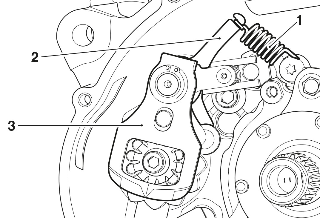 Diagram of the gear change shaft illustrated for Triumph