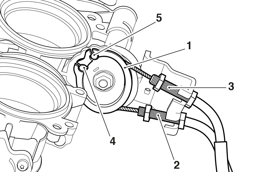 Throttle cable assembly diagram for Triumph Motorcycles