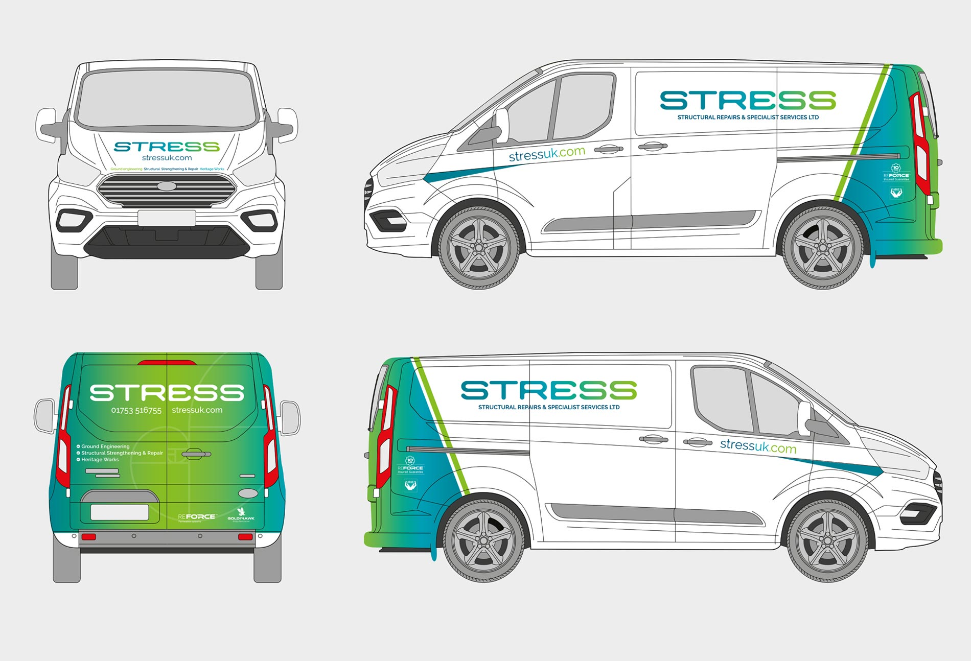 Fleet graphics and vehicle livery designed for Stress UK