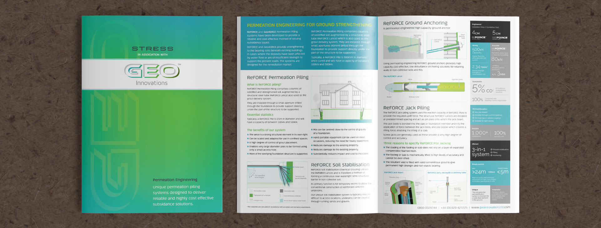 A4 folded printed brochure for GEO Innovations