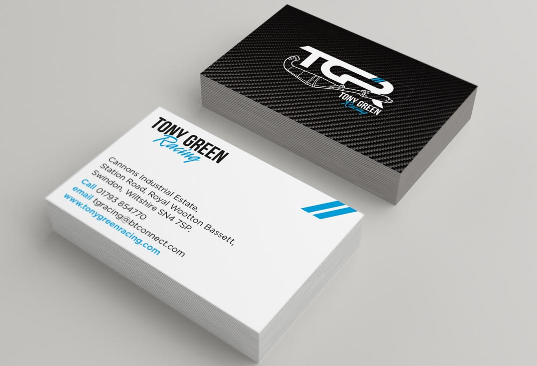 Tony Green Racing logo and business card design