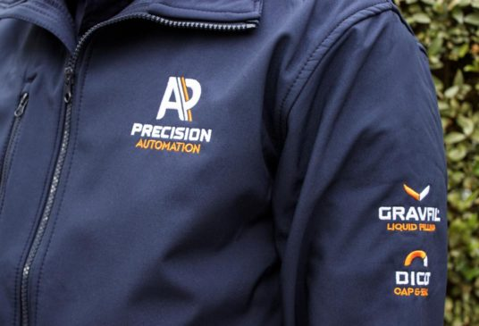 Branded clothing with embroidered logo
