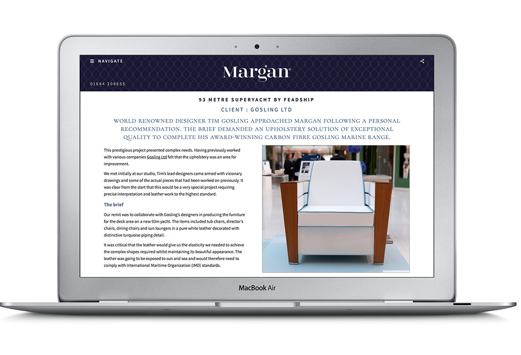 Case study section on the Margan bespoke website